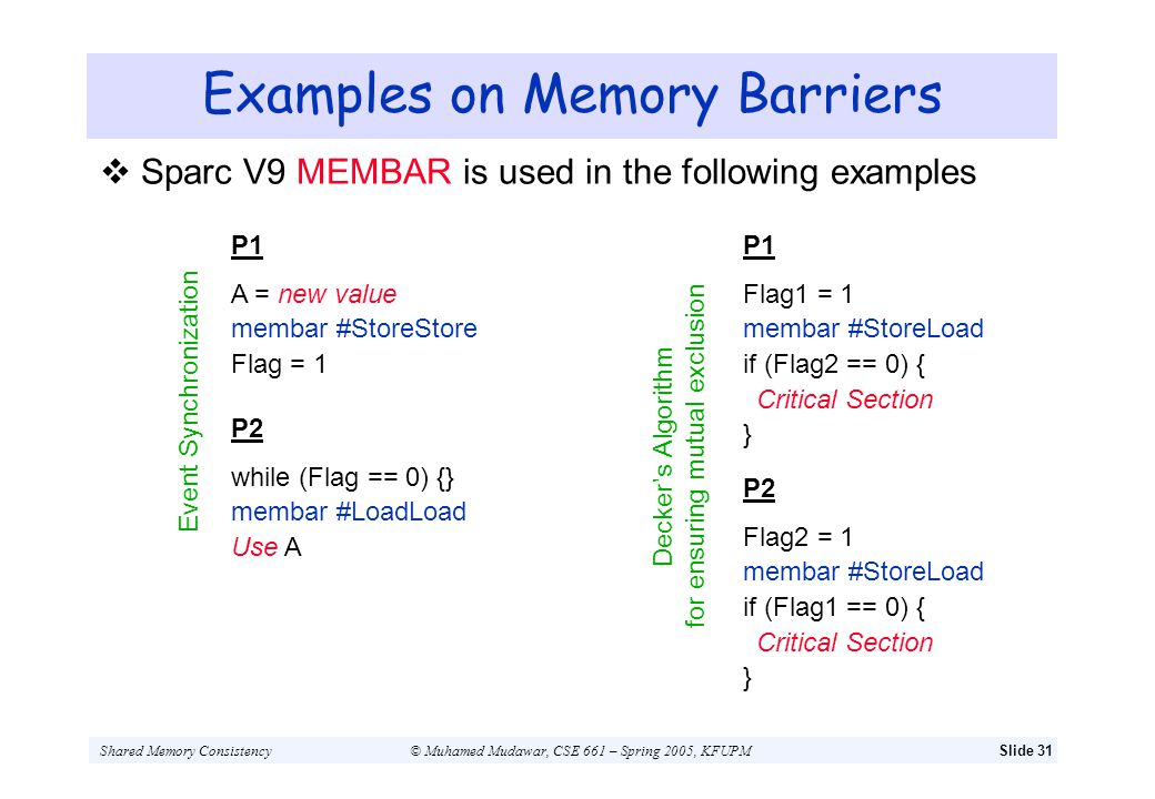 Examples on Memory Barriers