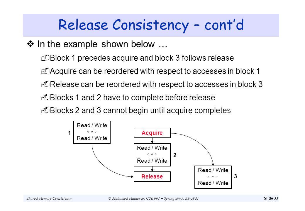 Release Consistency – cont'd