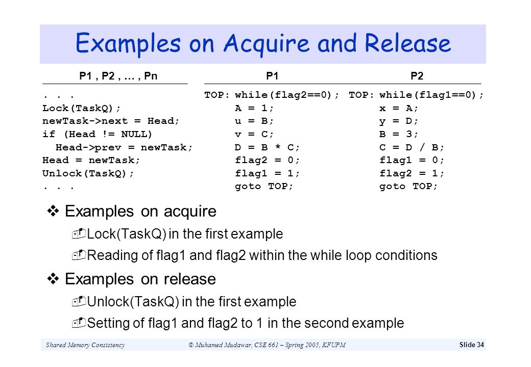 Examples on Acquire and Release