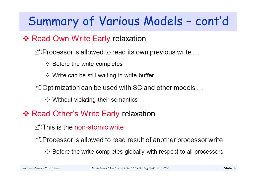 Summary of Various Models – cont'd