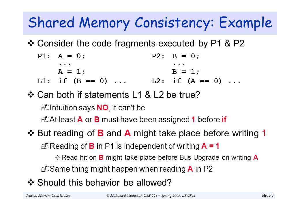 Shared Memory Consistency: Example