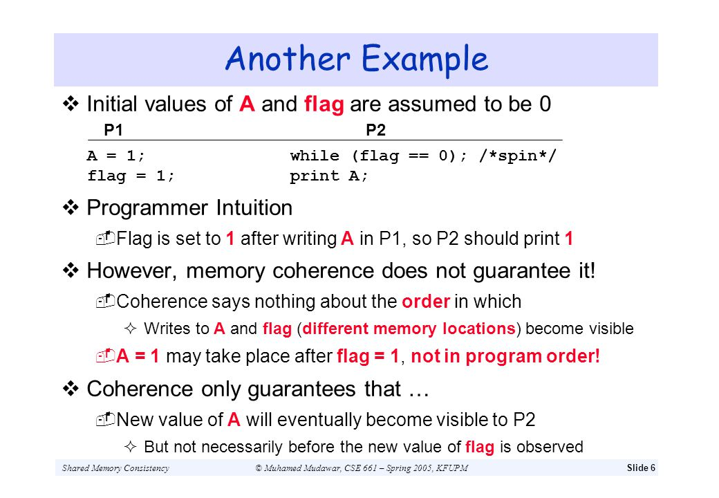 Another Example Initial values of A and flag are assumed to be 0
