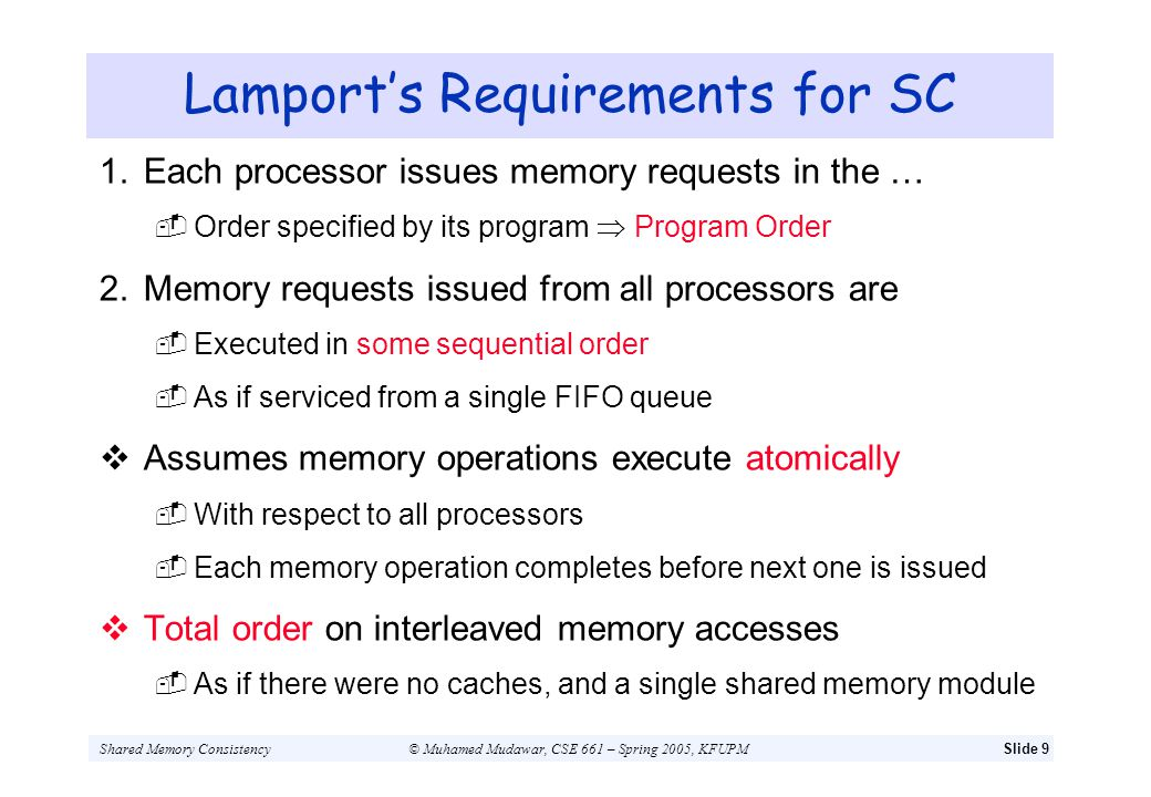 Lamport's Requirements for SC
