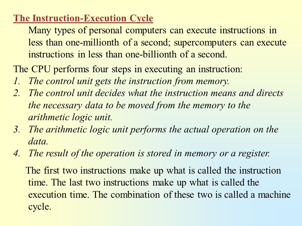 The Instruction-Execution Cycle