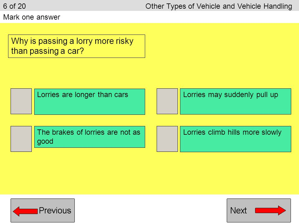 Why is passing a lorry more risky than passing a car