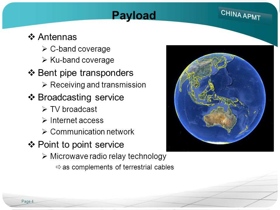 Payload Antennas Bent pipe transponders Broadcasting service