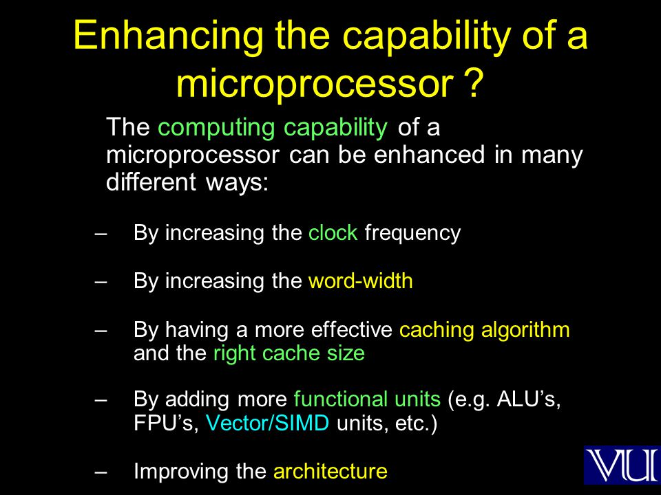 Enhancing the capability of a microprocessor