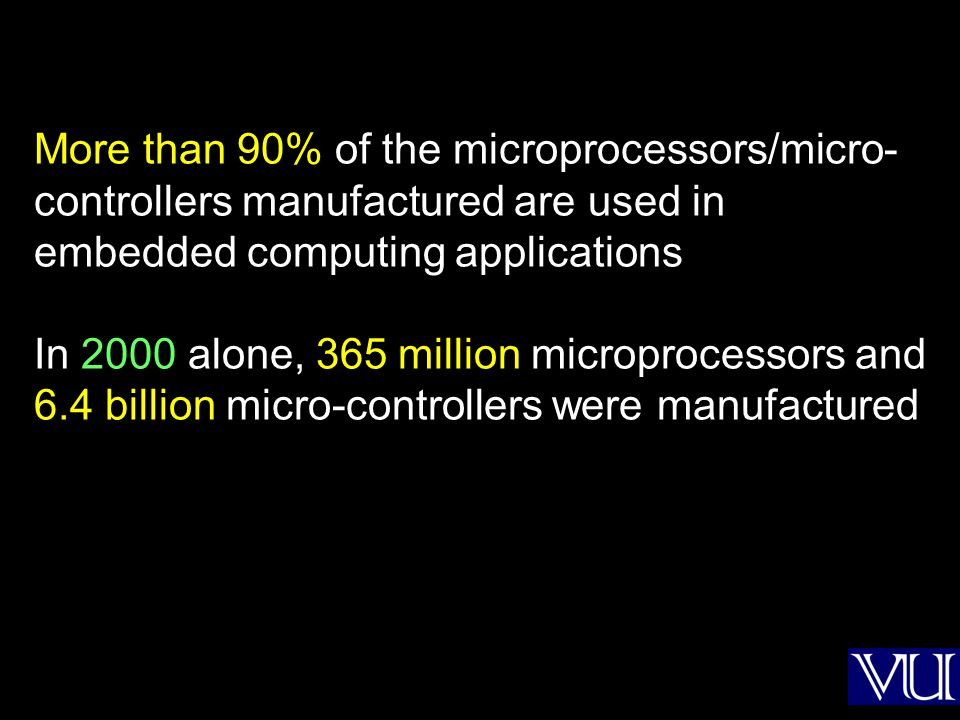 More than 90% of the microprocessors/micro-controllers manufactured are used in embedded computing applications In 2000 alone, 365 million microprocessors and 6.4 billion micro-controllers were manufactured