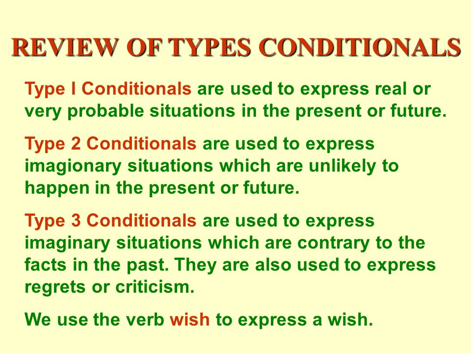 REVIEW OF TYPES CONDITIONALS