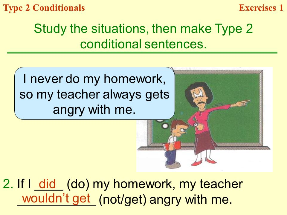 Study the situations, then make Type 2 conditional sentences.