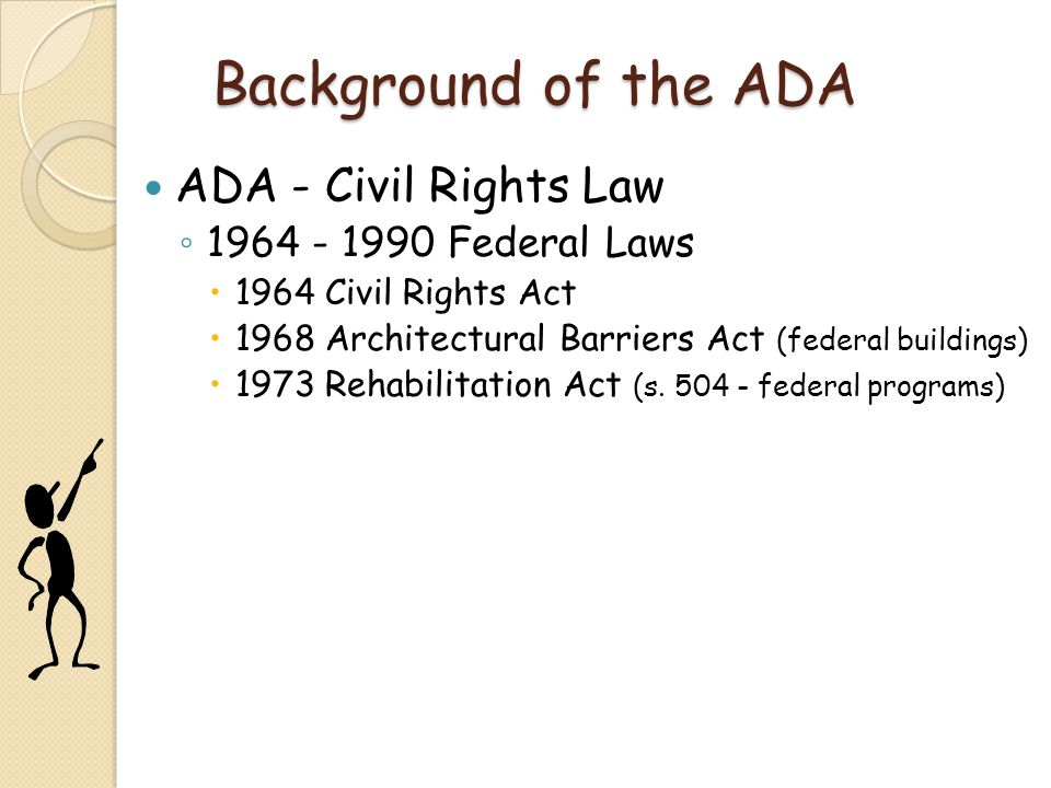 Background of the ADA ADA - Civil Rights Law 1964 - 1990 Federal Laws