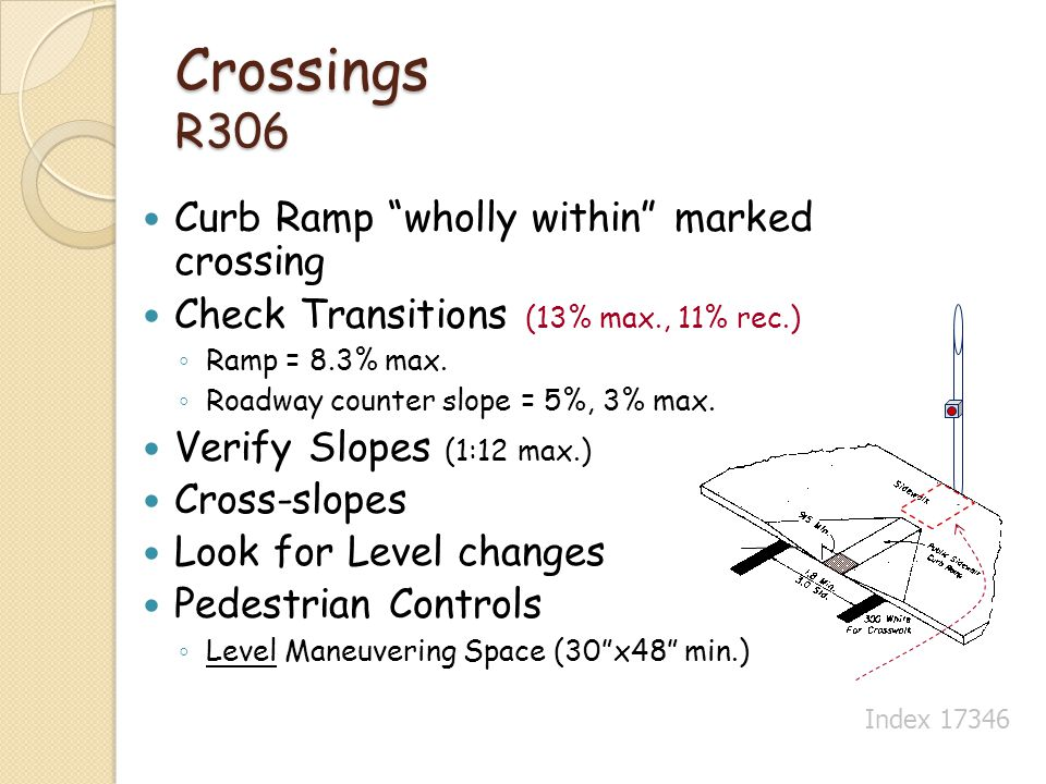 Crossings R306 Curb Ramp wholly within marked crossing