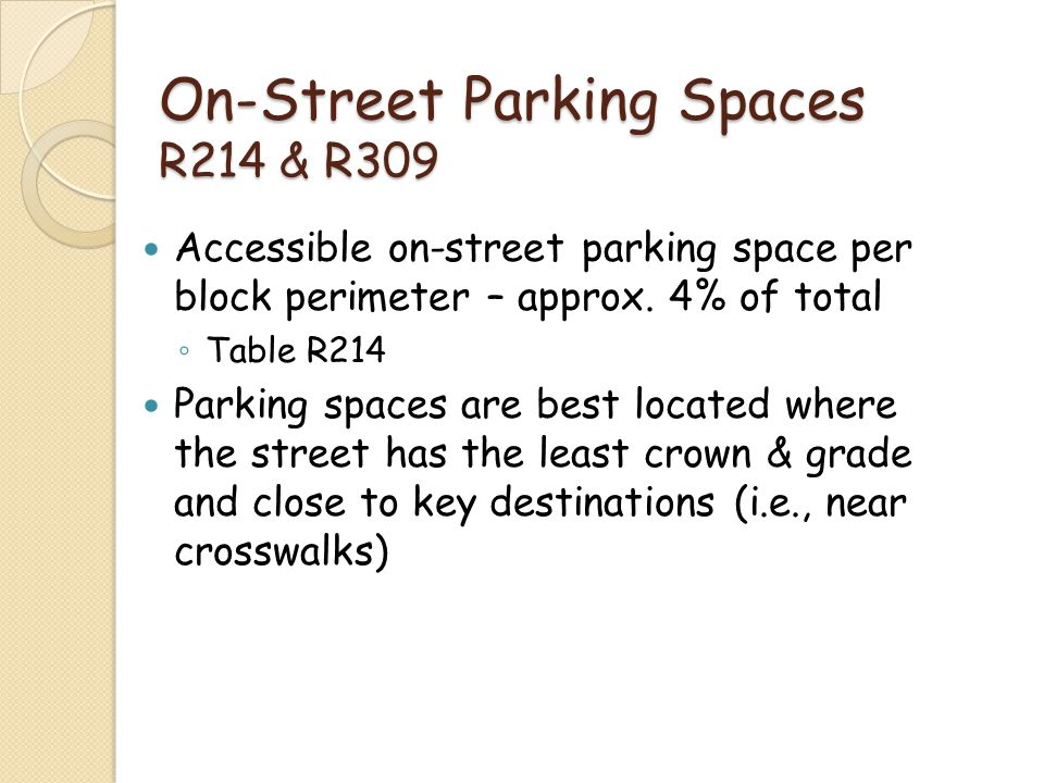 On-Street Parking Spaces R214 & R309
