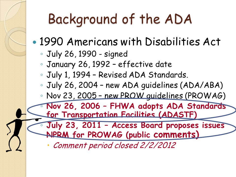 Background of the ADA 1990 Americans with Disabilities Act