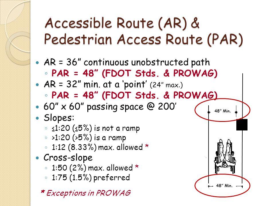 Accessible Route (AR) & Pedestrian Access Route (PAR)