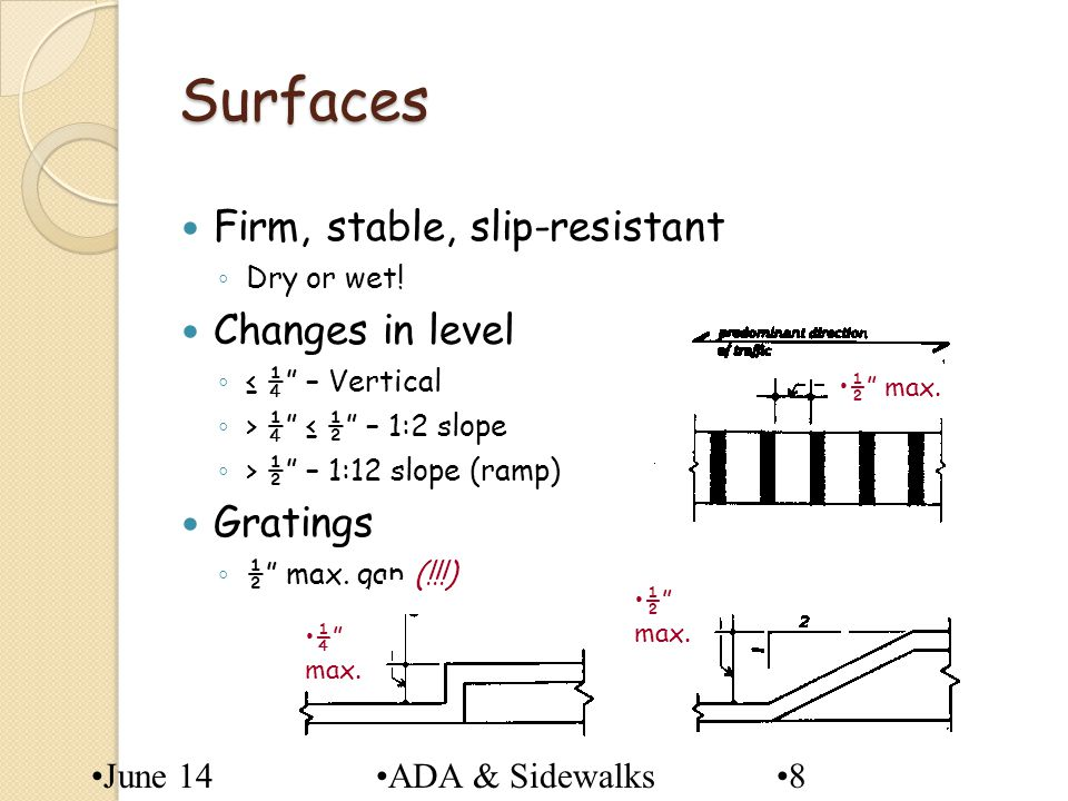 Surfaces Firm, stable, slip-resistant Changes in level Gratings