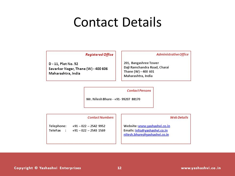 Contact Details Registered Office D - 11, Plot No. 52
