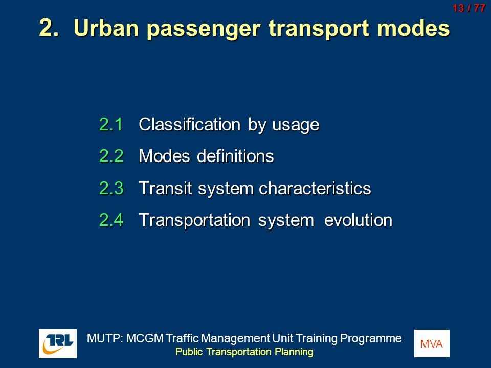 2. Urban passenger transport modes