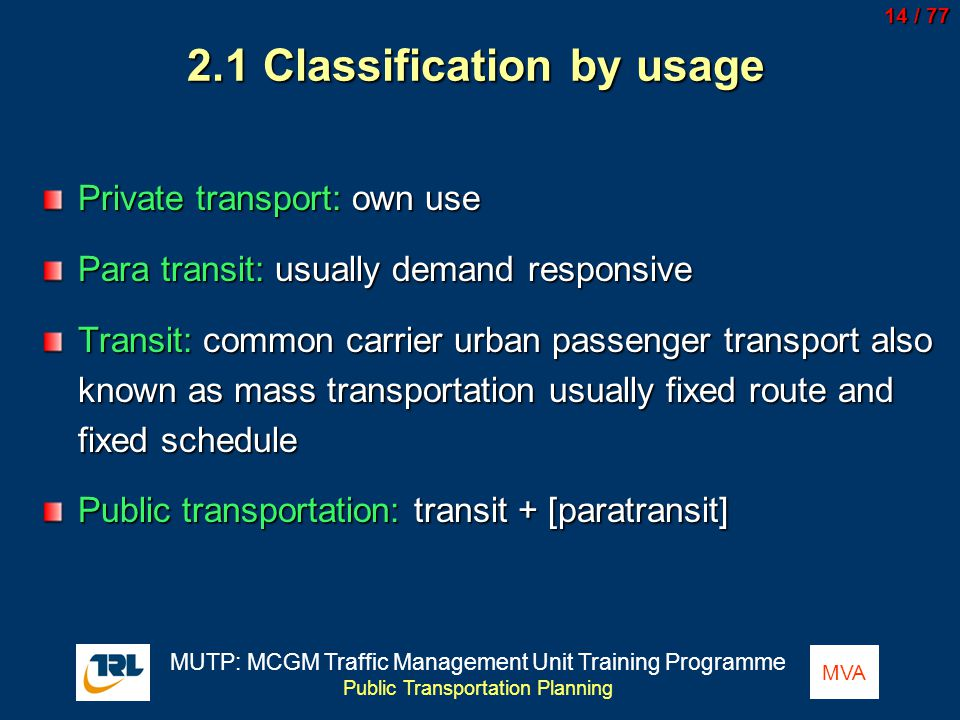 2.1 Classification by usage