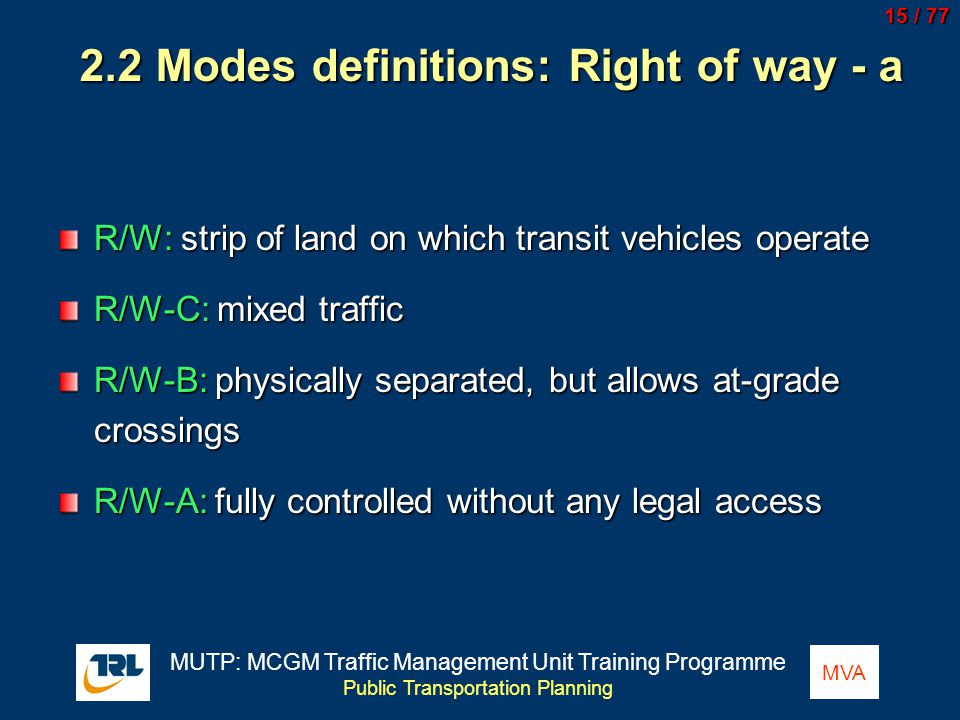 2.2 Modes definitions: Right of way - a