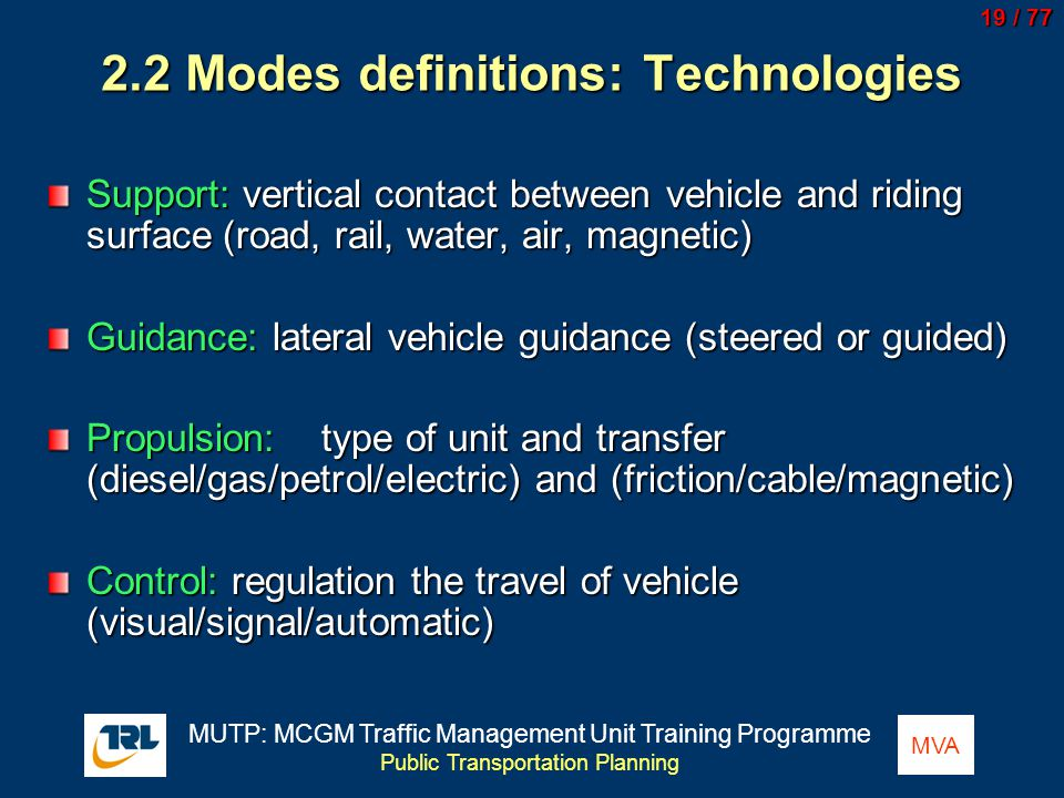 2.2 Modes definitions: Technologies