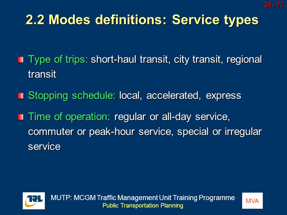 2.2 Modes definitions: Service types