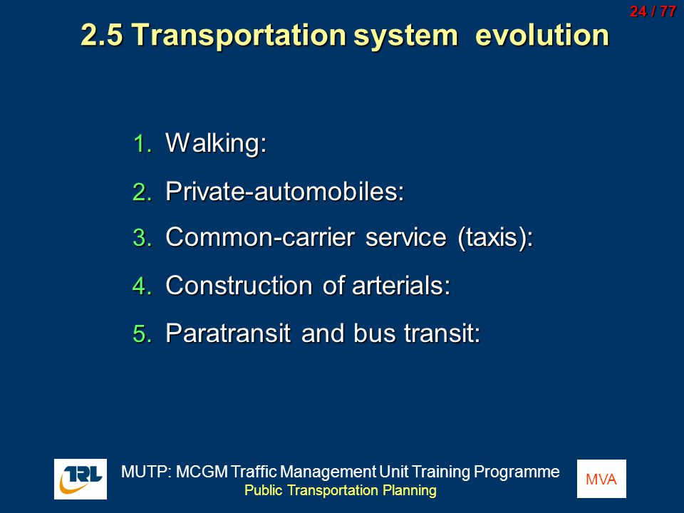 2.5 Transportation system evolution