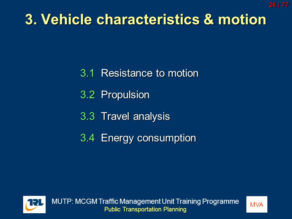 3. Vehicle characteristics & motion