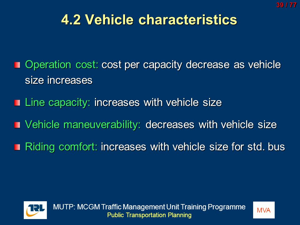 4.2 Vehicle characteristics