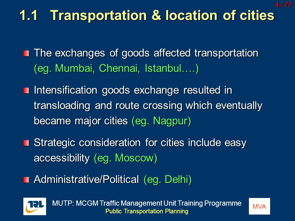 1.1 Transportation & location of cities