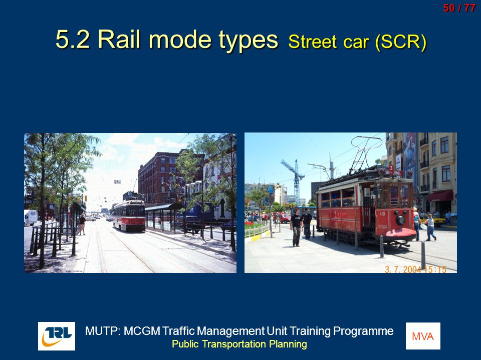 5.2 Rail mode types Street car (SCR)