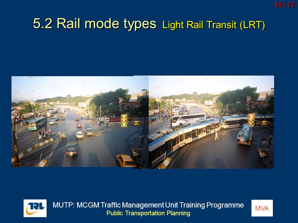 5.2 Rail mode types Light Rail Transit (LRT)