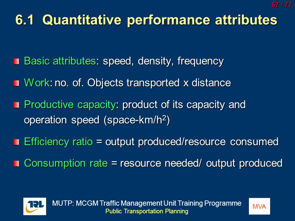 6.1 Quantitative performance attributes