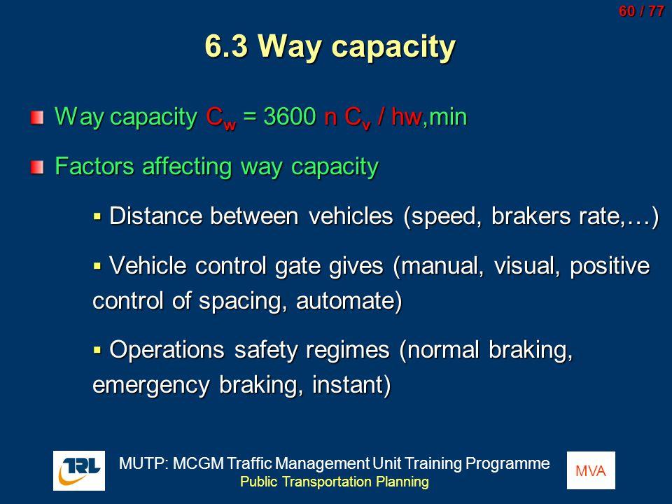 6.3 Way capacity Way capacity Cw = 3600 n Cv / hw,min