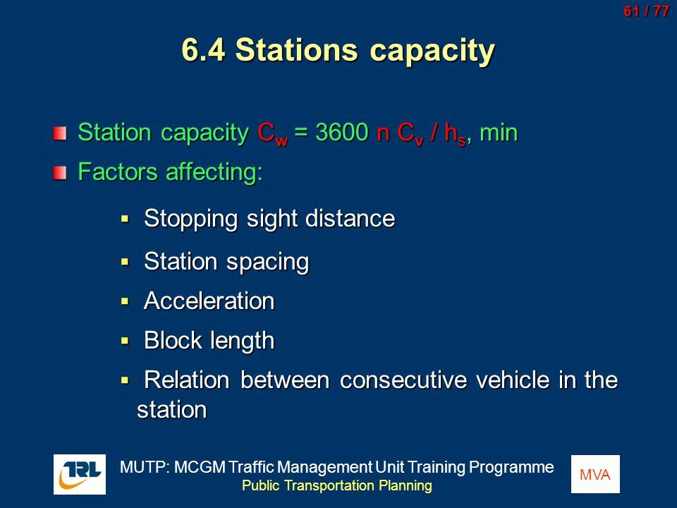 6.4 Stations capacity Station capacity Cw = 3600 n Cv / hs, min