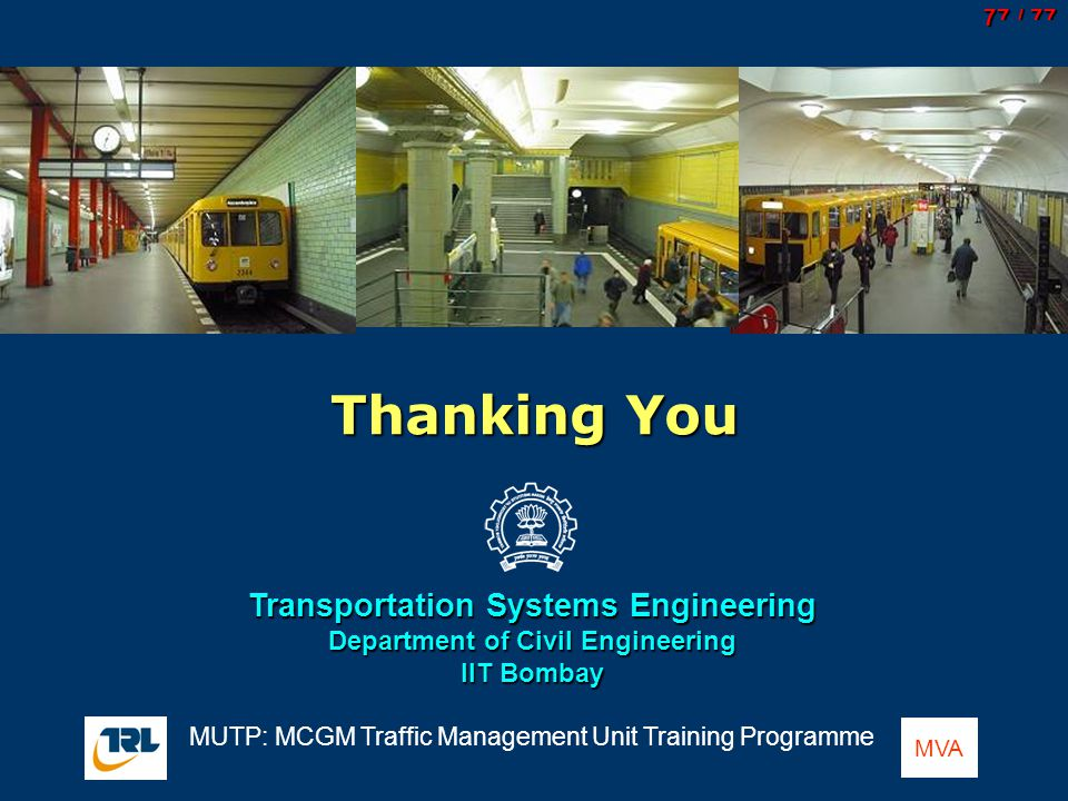 Transportation Systems Engineering Department of Civil Engineering