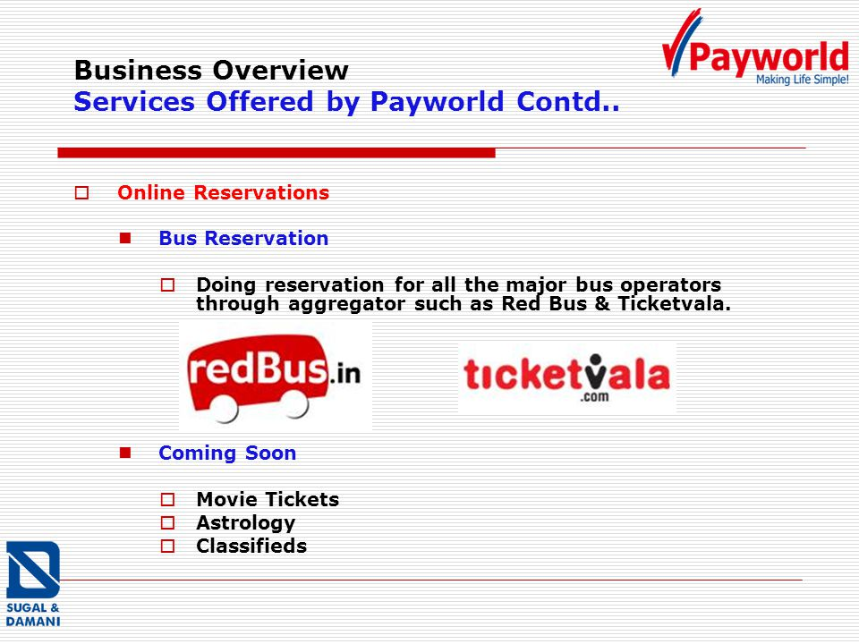 Business Overview Services Offered by Payworld Contd..