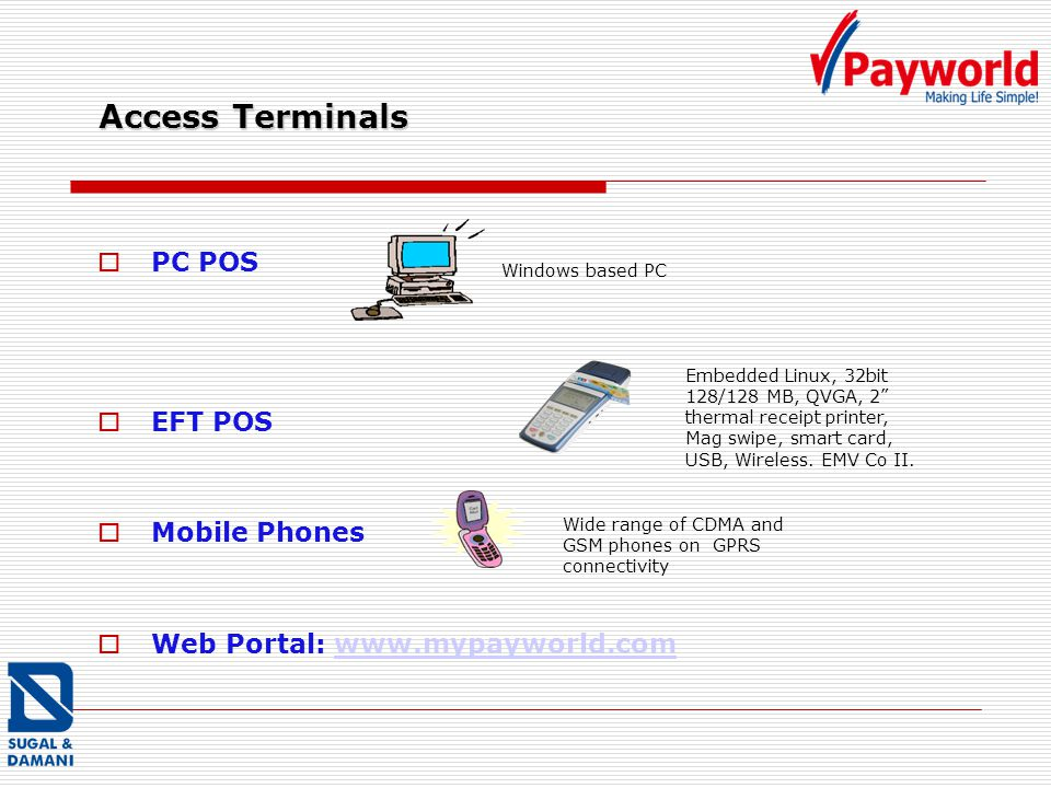 Access Terminals PC POS EFT POS Mobile Phones