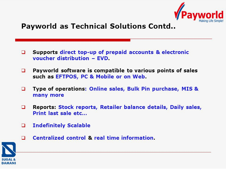 Payworld as Technical Solutions Contd..