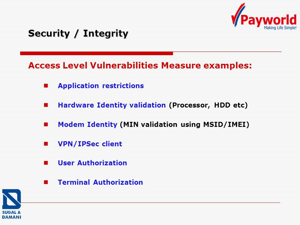 Security / Integrity Access Level Vulnerabilities Measure examples: