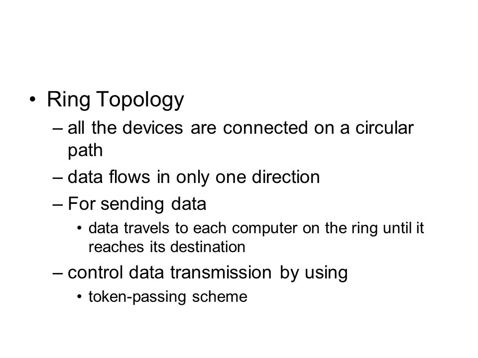 Ring Topology all the devices are connected on a circular path
