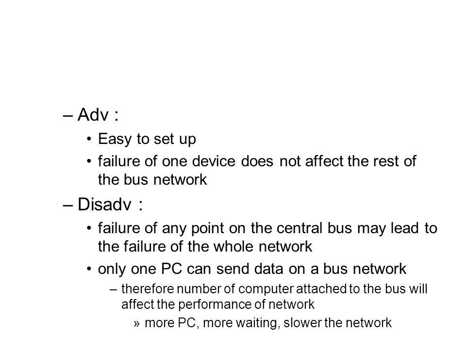 Adv : Disadv : Easy to set up