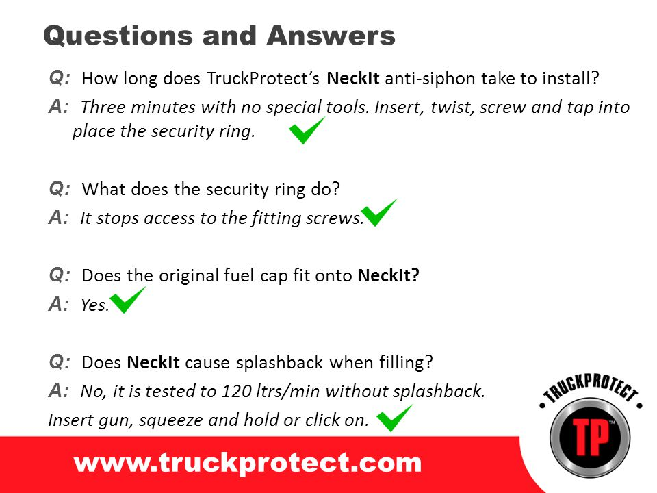 Questions and Answers www.truckprotect.com