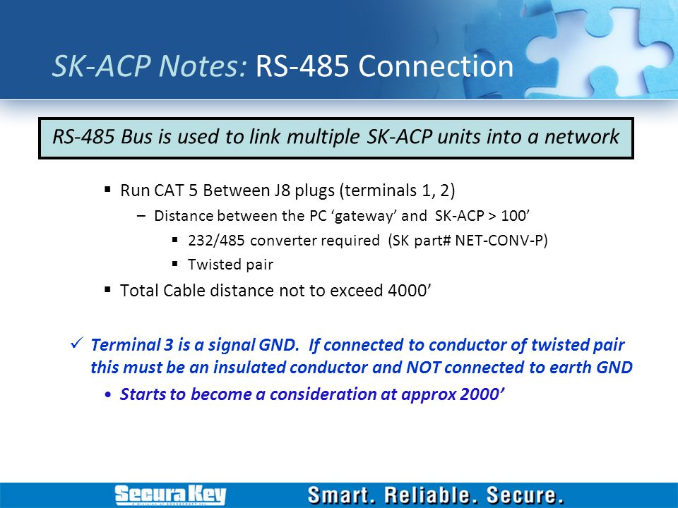 SK-ACP Notes: RS-485 Connection
