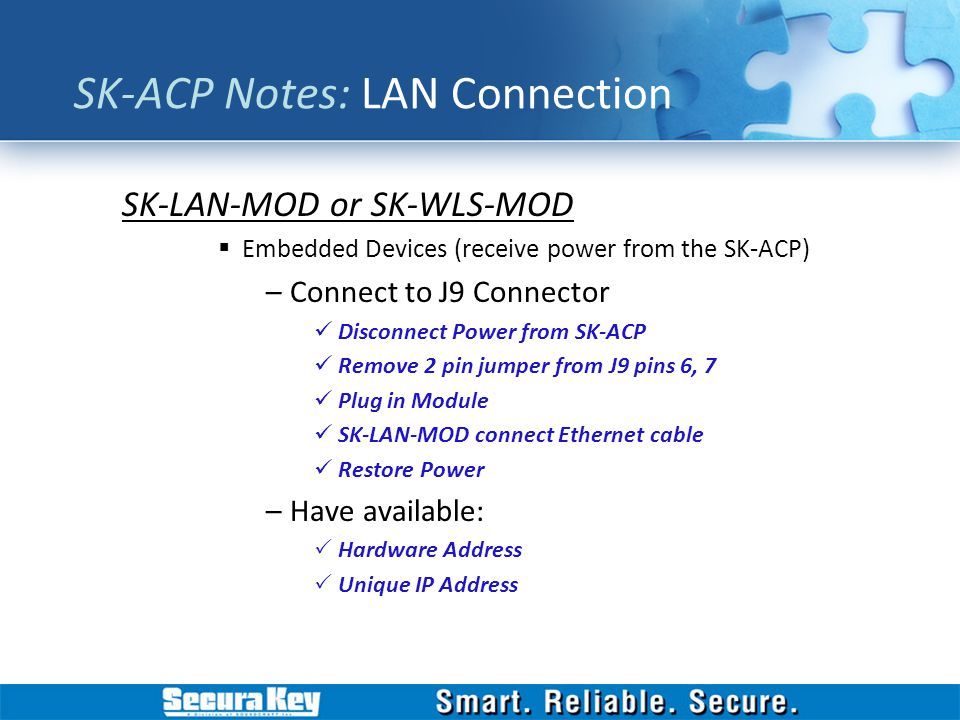 SK-ACP Notes: LAN Connection