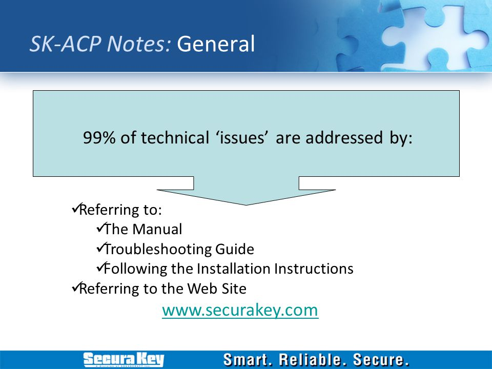 SK-ACP Notes: General 99% of technical 'issues' are addressed by: