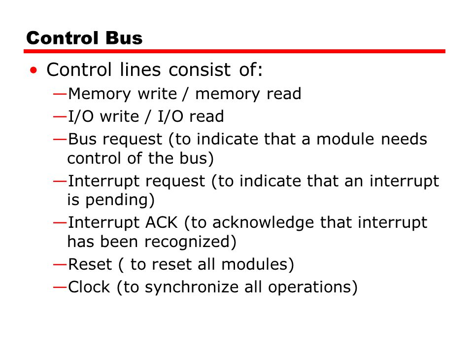 Control lines consist of: