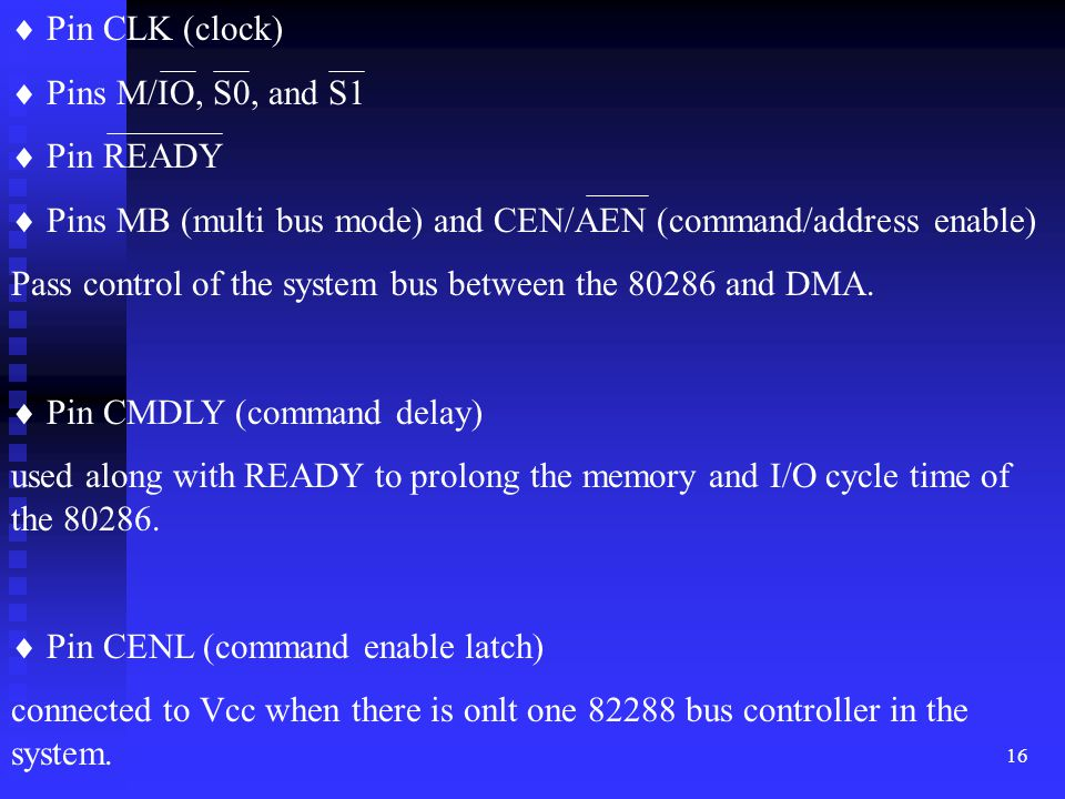  Pin CLK (clock)  Pins M/IO, S0, and S1.  Pin READY.  Pins MB (multi bus mode) and CEN/AEN (command/address enable)