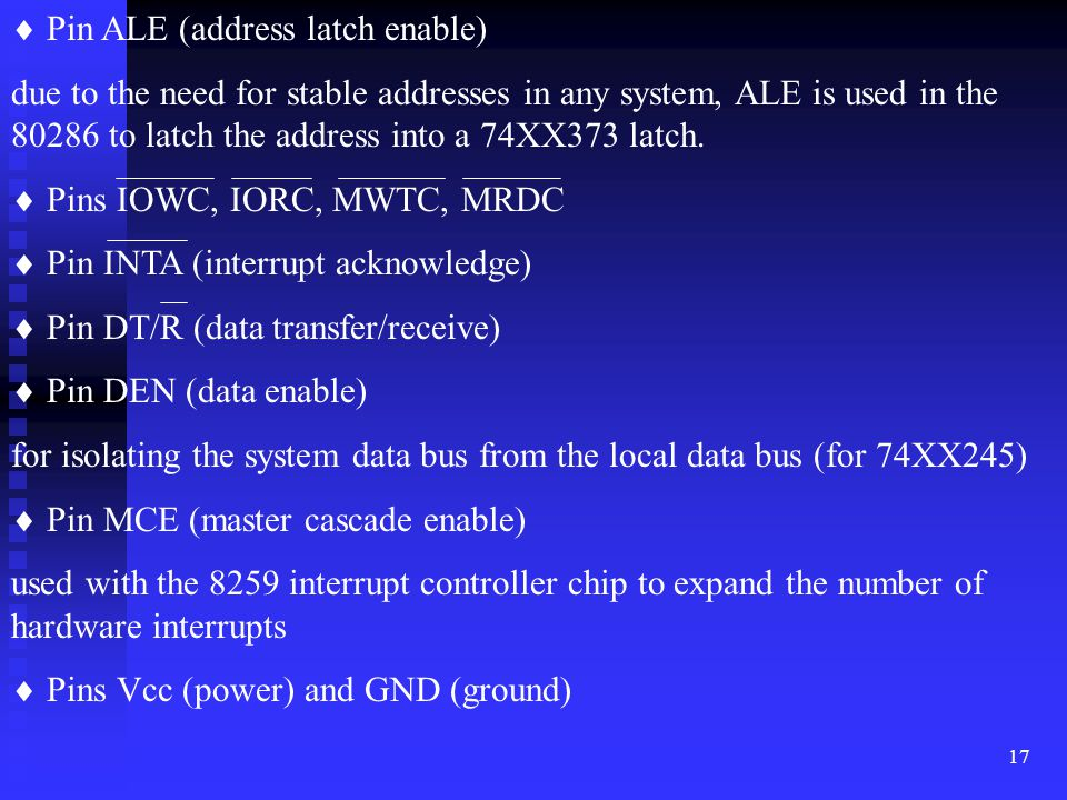  Pin ALE (address latch enable)