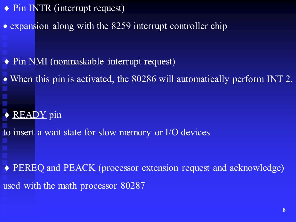  Pin INTR (interrupt request)